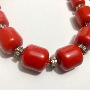 J. Crew Jewelry - J. Crew chunky red bead /rhinestone necklace